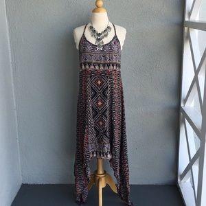 Aztec Print Uneven Boho Dress Size M
